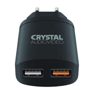 CRYSTAL AUDIO QP2-3 QC3.0 port 3.5-6.5V 3A, 6.5-9V 2A,9V-12V 1.5A Dual USB Wall Charger